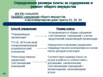 Установление размера платы за содержание общего имущества МКД
